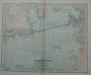1868 MAP NORTH ATLANTIC & COASTS BRITISH ISLES TELEGRAPHIC COMMUNICATION LINES