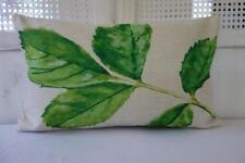 Watercolour Painting Hamptons Green Leaf Linen Rectangular Cushion Cover 30x50cm