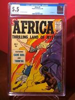 Africa #1 Thrilling Land of Mystery CGC 5.5 Bob Powell cvr & art, 1st issue 1955