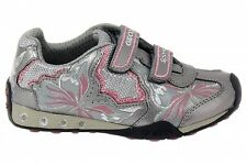 Details about Geox Respira Girls Pewter velcro sneaker sport shoes sequins US 10.5 Euro 28