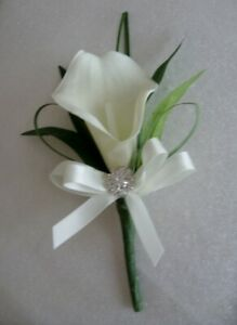 Ivory Diamante Calla Lily real touch Ladies Corsage Groom Wedding Guests