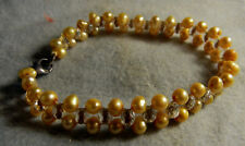 Baroque Natural Yellow Freshwater Pearl Bracelet 7.5'' Sterling Silver Clasp