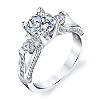 925 Sterling Silver 3 Stone Contemporary Cubic Zirconia Engagement Wedding Ring