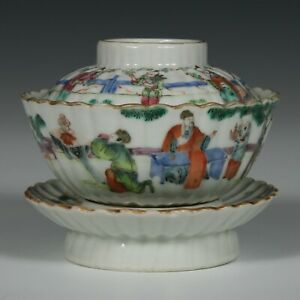 Antique Chinese Famille Rose Porcelain Covered Bowl and Stand Marked 19thC