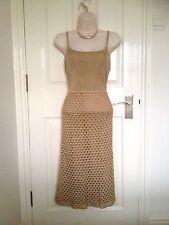 Vestido de noche nuevo Siguiente Oro Hecho a Mano Ganchillo Lápiz Midi talla UK 14 BNWT