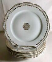 "6 O.& E.G. Royal Austria Gold Decorated Porcelain 8"" Salad Plates"