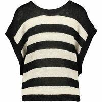 ALLSAINTS Women's CAROVA Knitted Striped Tee, Black/Antique White, size SMALL