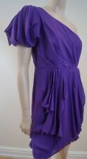 TIBI NEW YORK 100% Silk Purple One Shoulder Ruched Mini Evening Cocktail Dress