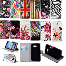 Classic Flower Flip Leather Wallet Magnetic Stand Case Cover For Samsung Phones
