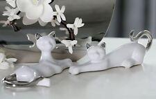 46124 Figur Katze Milly Keramik weiß glasiert mit silbernem Schwanz und Ohren