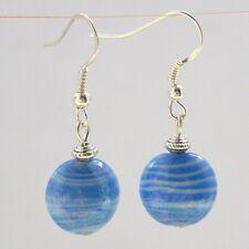 Blue Glass Drop Earrings Blue & White Indian Glass Sterling Silver Hooks LB1365
