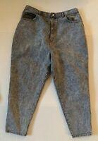 Vintage 80s SASSON Gray Black Stone Wash Jeans High Rise Zipper Leg Plus Size 22