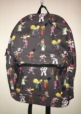 Hey Arnold Backpack Zip Closure Gray Background Nickelodeon '90 Throwback NEW