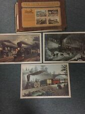 The Iron Horse Era Train Original Currier Placemats 1974 American Lightning Expr