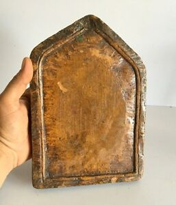 Ancient Old Rare Golden Yalow Stone Hand Carved Primitive Temple Panel