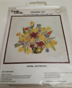 """Vintage Circle Family Crewel KIT 14""""x14"""" embroidery April Artistry Design"""