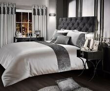 Luxurious Crushed Velvet Faux Silk Duvet Cover Plush Glam Mink Bedding Champaign Double Silver