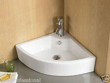 Basin Sink Bathroom Ceramic Corner Cloakroom Wall Hung Mounted Countertop Tap KL