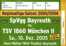 Ticket Regionalliga 2005/2006 SpVgg Bayreuth - TSV 1860 München II, 10.12.2005