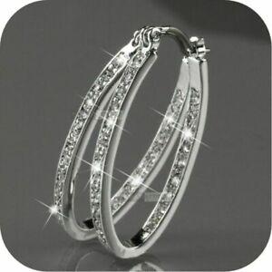 Boho 925 Silver Cubic Zirconia Big Hoop Earring Wedding Engagement Party Jewelry