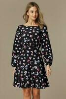 WALLIS Petite Long Sleeve Black Floral Fit and Flare Dress | SALE | Was £40