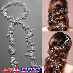 Pearl Hair Vine Crystal Bridal Accessories Wedding Party Diamante Prom Headpiece