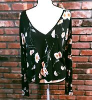 Brandy Melville Black Floral V-neck Cropped L/S Slouchy Top Shirt Women's O/S
