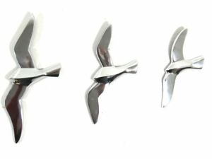 NEW - Contemporary Metal Wall Art – Set Of 3 Flying Seagull Birds