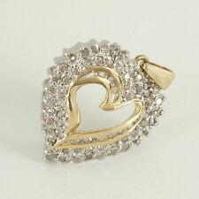 Anhänger Herz in  585/- Gelb/Weißgold  mit  65 Diamanten  ca 0,60 ct Crystal si