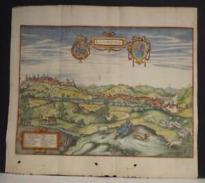 LIMBURG BELGIUM 1659 MATTHÄUS MERIAN UNUSUAL ANTIQUE COPPER ENGRAVED CITY VIEW