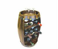 Wooden Barrel Style Wine Rack 8 Bottle Holder Oak Effect Free Standing Gift