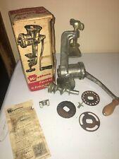 Vtg Manual Hand Crank Metal Meat Grinder Keystone Food Chopper No 20 - w/Box