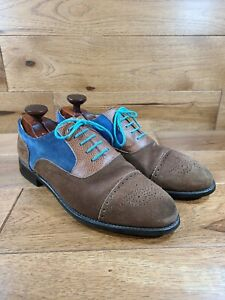 Quero Shoes Brown/Blue Suede Cap Toe Oxford Goodyear Welted Handmade Size 12
