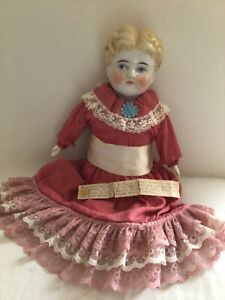 Antique German China Head Doll Exposed Ears Blonde 1893