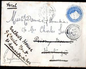 Egypt: 1900 Egypt 1 Pia. pse sent to UK with UK Railway Office receivers