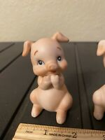 "Vintage porcelain Lefton Pig Figurines  Approx. 3 1/4"" #02529"