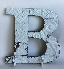 "Large Antique Tin Ceiling Wrapped 16"" Letter 'B' Patchwork  Mosaic White Hooks"