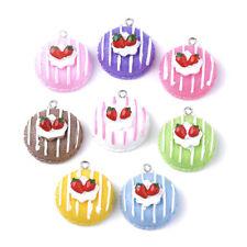 100pcs Resin Cake Pendants Strawberry Mini Cute Charms Jewelry Making 34~35x31mm