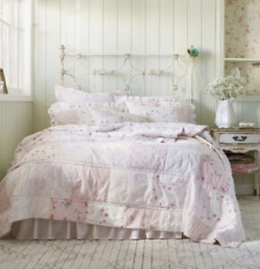 Simply Shabby Chic Rachel Ashwell Patchwork Quilt Q Ditsy Pink Rose Chenille Set