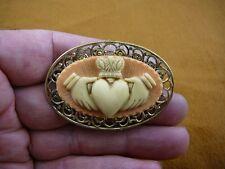 CM38-74) CLADDAGH orange ivory CAMEO Irish heart Pin Pendant traditional Jewelry