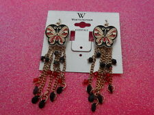 "Multi Colored Butterfly Fringe Earrings 3"" Inch Dangles With Beads"