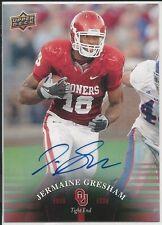 Jermaine Gresham 2011 Upper Deck University Of Oklahoma Autographs Card # 75