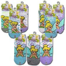 6 PAIR Disney Fairy Tinkerbell Kids Girls Ankles Socks Size 6-8 Shoe 10.5-4 NEW