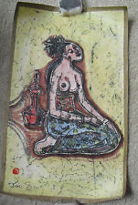 Vintage Signed Asian Painting of Nude Woman LOOK