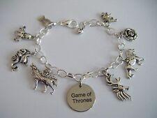 Game of Thrones WORD Charm Bracelet The House Banners Khaleesi Stark Dragons etc