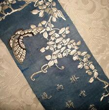 Hermoso Bordados 19th Century Chino De Seda, Mariposas, caligrafía