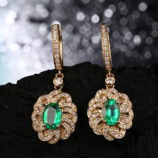 18ct Yellow Gold Stunning Natural Colombian Emerald & Diamond Earrings Beauty VS