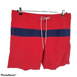 J Crew Swim Surf Trunks Red Blue Striped 100% Nylon Mens Size 36