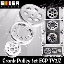 EMUSA Aluminum SILVER Crank Pulley Set for 93-97 Toyota Supra 2JZGTE JZA80 3.0L