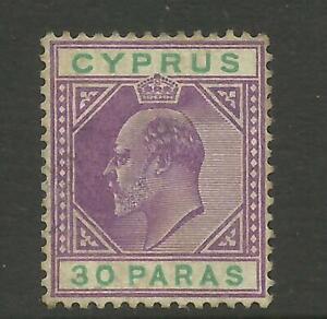 CYPRUS EDVII 1904/10 Sg 63, 30pa Purple & Green Average M/Mint no gum. {B5-44}